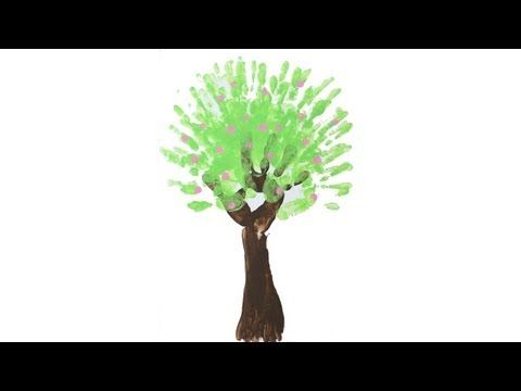 Peinture à doigt: Arbre au printemps