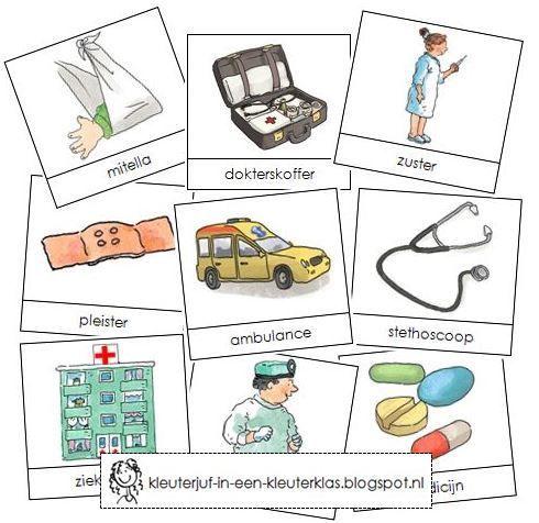 Activiteiten met woordkaarten bij het thema: Ziekenhuis (met tekeningen van Dagmar Stam)