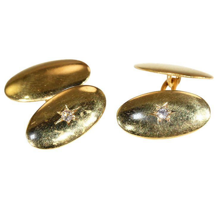 Antique Edwardian Classic Diamond Cufflinks in 15k Gold