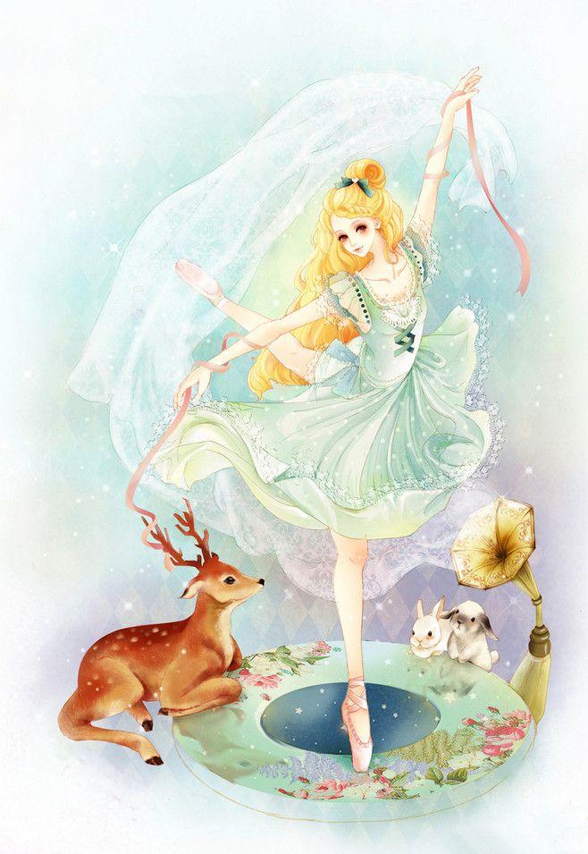 ミュージックガール 音楽少女 ダンス女神 エルク 鹿 ウサギ