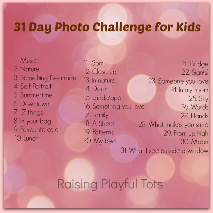 31 day photo challenge for kids. Starts July 1st