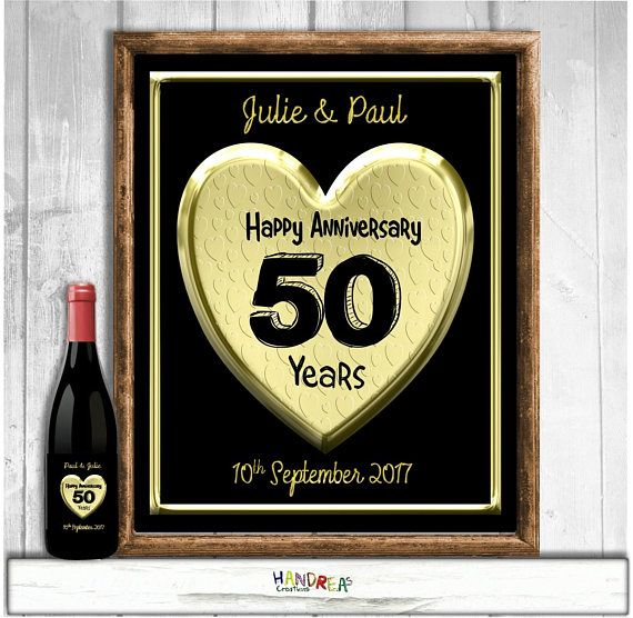 Personalised 50th Wedding Anniversary Printable, Digital Download, Custom Golden Anniversary Gift, 50 years of marriage, Party Prop Poster