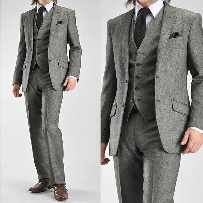 クラシカルな装いで大人スタイルをキメる!(細身~標準サイズ) 。【サイズ限定】ウール混ツイード素材・2ツボタンスリーピーススーツ【Le orme】【送料無料】(秋冬物 3ピーススーツ ブラック パーティー 二次会 結婚式 ビジネススーツ) suit