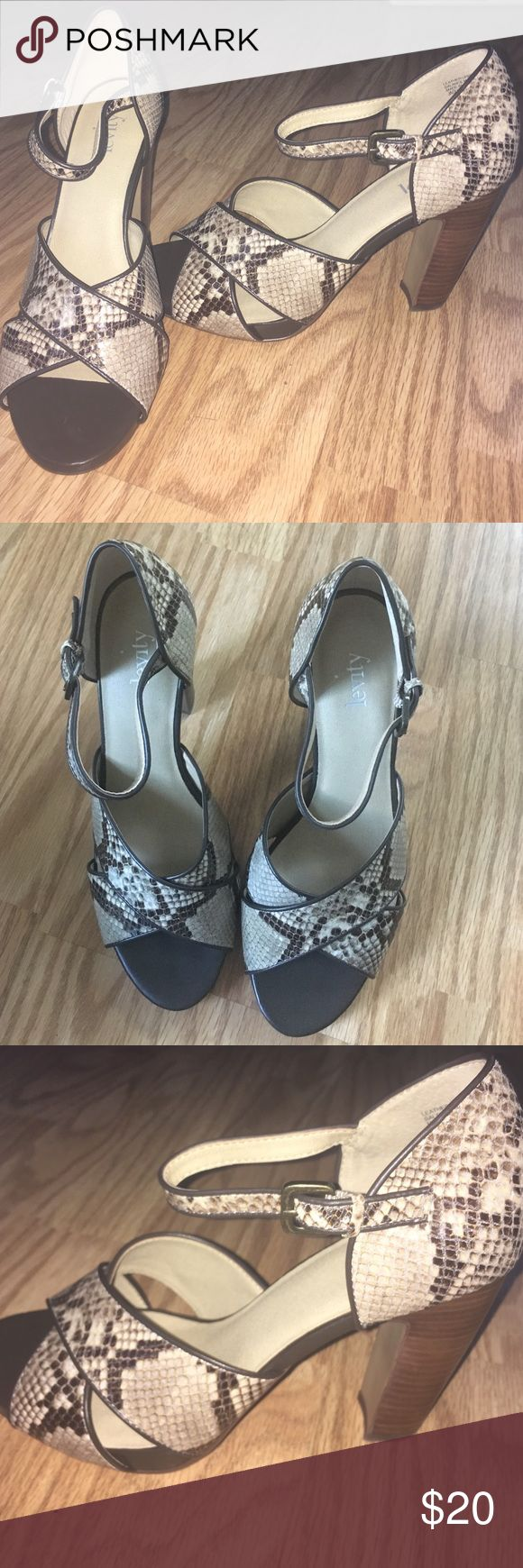 Snake skin print open toed heels Worn once, still have the box and all. Beautiful thick 3in heel with soft heel bed. Flexible and comfortable Levity Shoes Heels
