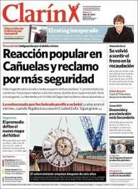 La tapa del diario Clarín
