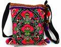 Vintage Hmong Tribal Étnico Tailandés Indio Boho hombro bolsa de mensajero del bordado, pom pom ajuste SYS-443