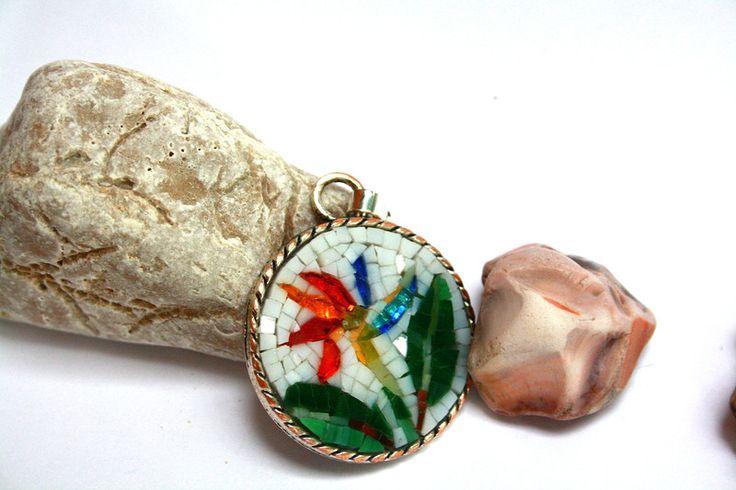 Collane con pendenti - Sterlizia / collana con pendente / micromosaico - un prodotto unico di muse-withlove su DaWanda