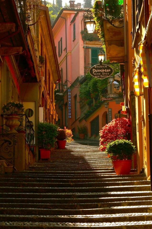 • Stairway Bellagio • Lake Como, Italy. Lake Como, is a lake of glacial origin in Lombardy, Italy.