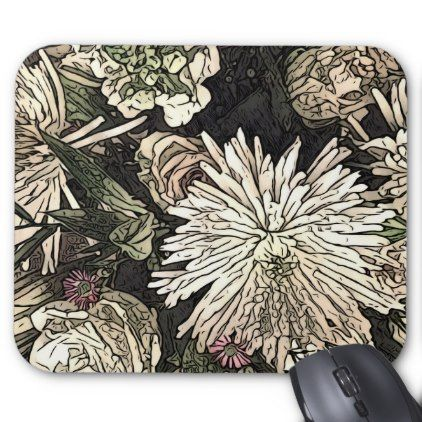 Rose and chrysanthemum bouquet mouse mat - floral style flower flowers stylish diy personalize