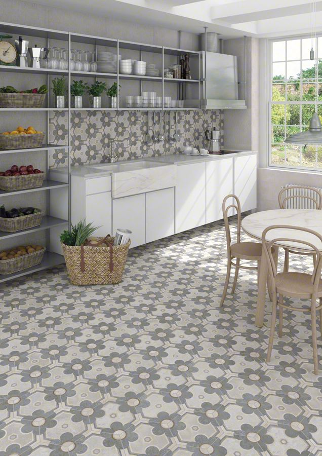 Kitchen whith a flowered concrete hexagon tile. Hexágono Yereban 23x26,6cm. | Floor Tiles Porcelain | VIVES Azulejos y Gres S.A. #tile #porcelain #concrete