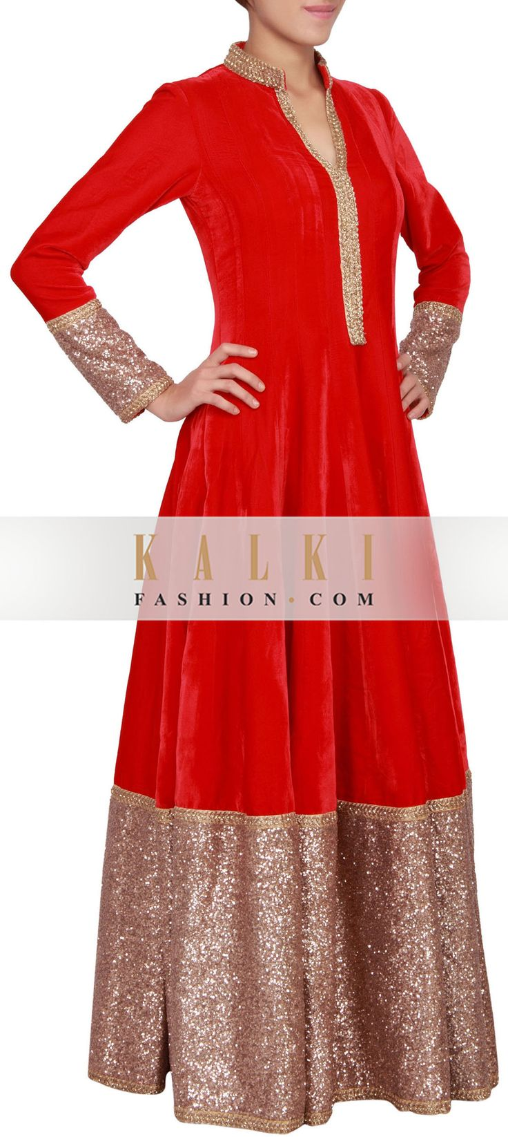 Buy Online from the link below. We ship worldwide (Free Shipping over US$100) http://www.kalkifashion.com/scarlet-red-velvet-anarkali-suit-embellished-in-zardosi-and-sequin-only-on-kalki.html