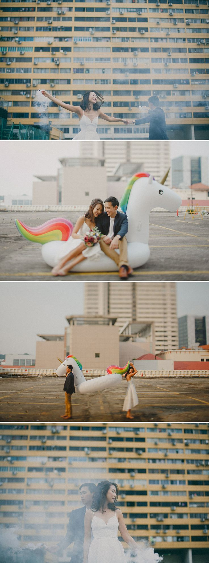 """Long distance and the trials of having to undergo brain surgery were no match for these two """"robot and unicorn"""" lovebirds who tied the knot in a quirky wedding at Lepark - a rooftop bar at People's Park Complex, captured by Samuel Goh Photography. Rich autumn-inspired jewel tones, a giant unicorn float, and a sumptuous bridal party breakfast (in lieu of a gatecrash) made their nuptials look beautiful but even more importantly, allowed the bride and groom to truly spend time..."""