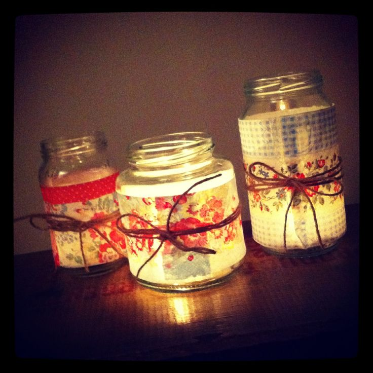 Jam Jar Ideas Cute Tea Lights Wrapped In Shabby Chic