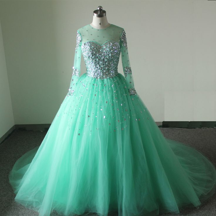 Luxury Mint Quinceanera Dresses O Neck Long Sleeves