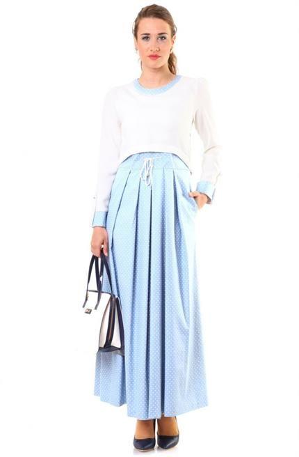 Puane Pileli Elbise 4568 Mavi