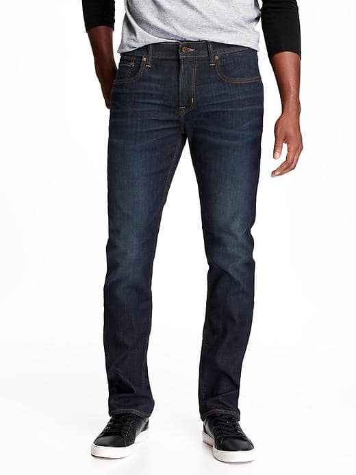 Built-In Flex Max Slim Jeans for Men; Button-closure and zip fly. Riveted scoop pockets and riveted coin pocket in front; patch pockets in back. Tag-free label inside back waist for added comfort. Built-In Flex Max: Double the innovative stretch technology for maximum comfort & movement. #441698 85% cotton , 13% polyester, 2% spandex. Machine wash. Imported.