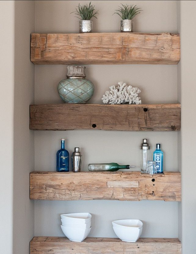 Rustic floating shelves--white bathroom.