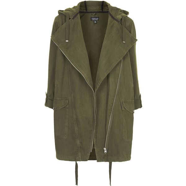 TOPSHOP Waterfall Front Parka Jacket found on Polyvore