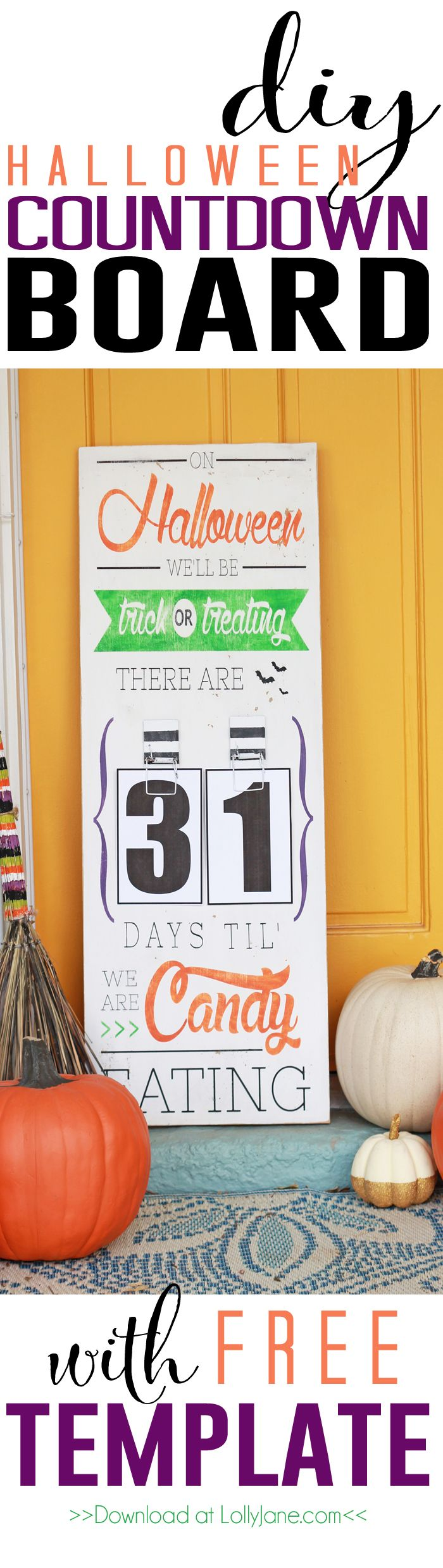 DIY Halloween Countdown Board | Easy Halloween decor tutorial plus a FREE template and FREE number printables!!