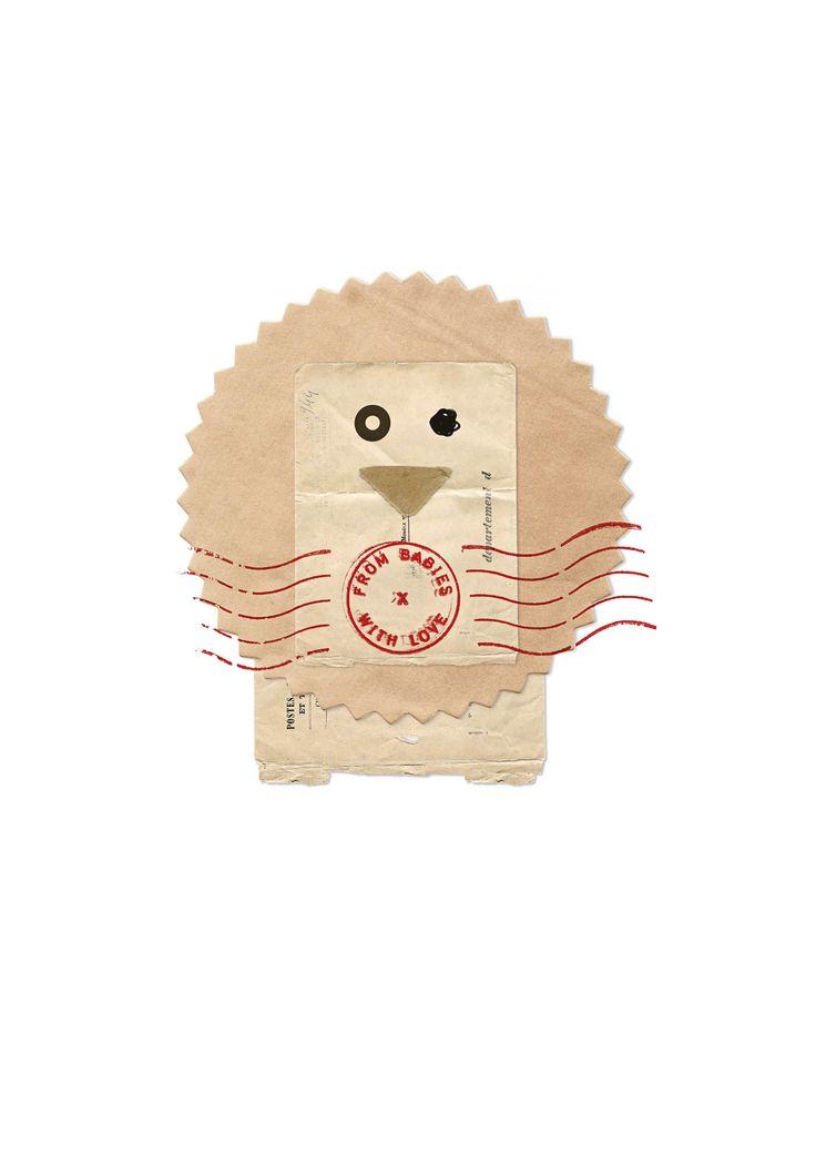 #AW15: #Lionposter - design inspired by #vintagepostalmaterials sourced from Parisian flea markets #postalephemera #kidsfashion #buysocial #babyclothes #babygifts #organiccotton