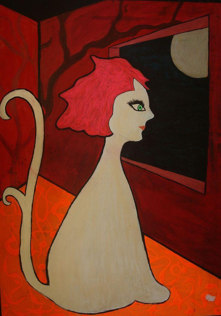 Catina. Auto retrato... Catina divaga en el universo en una caja corazón que tiene una sola ventana donde ve la inmensidad de lo divino. Caja cuadrado, símbolo mundano, luna vacÍo símbolo de divinidad