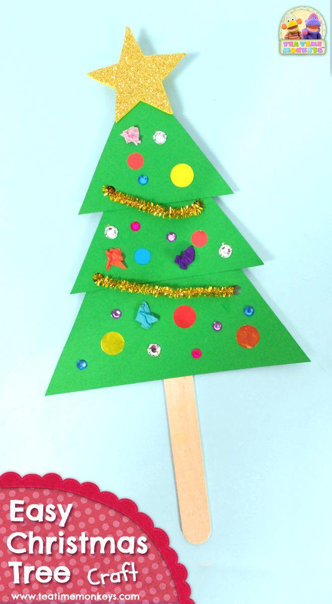 Easy Christmas Tree Craft Tea Time Monkeys Christmas Tree Crafts Tree Crafts Simple Christmas Tree