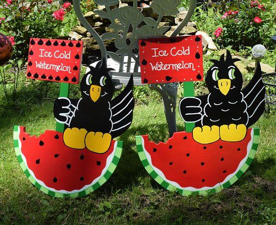 Watermelon and Blackbird Yard Art, Crow Garden Stake, Summer Yard stake, Wood Painted Yard Sign, Garden Decor, Outdoor Decoration