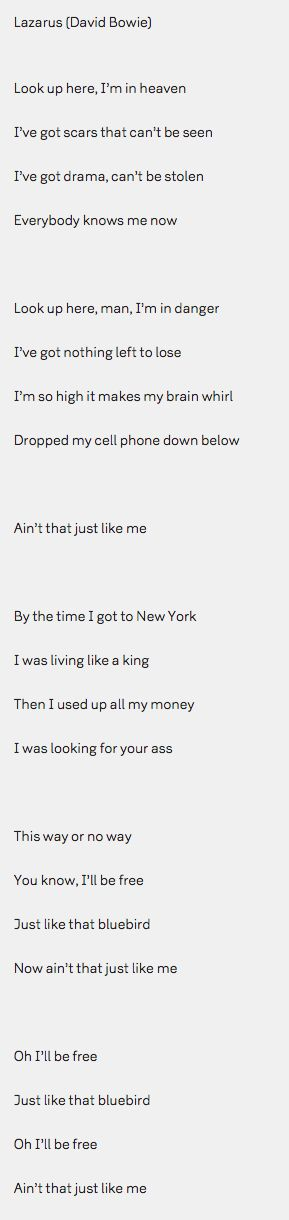 Lazarus lyrics in full (I feel like he knew, by the lyrics and what they are trying to say r.I.p David bowie)