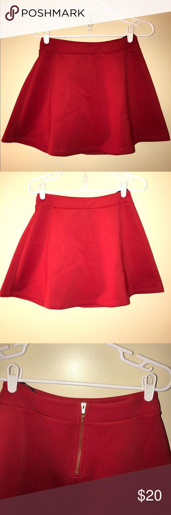Forever 21 red skater skirt Forever 21 skater red skirt. Zipper back. Super cute. Worn only couple of times. Forever 21 Skirts Mini