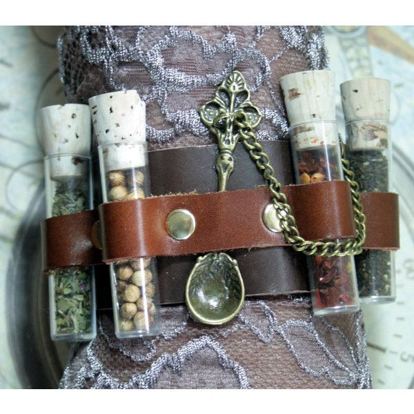 Apothecary steampunk cuff, steampunk cuff, leather bracer, medicinal... (67 AUD) ❤ liked on Polyvore featuring jewelry, bracelets, steampunk jewellery, steampunk jewelry, chain cuff bracelet, bangle cuff bracelet and steam punk jewelry