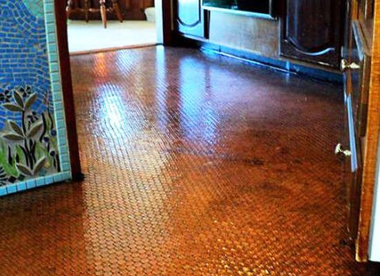 Copper floors - completely tile a floor with pennies