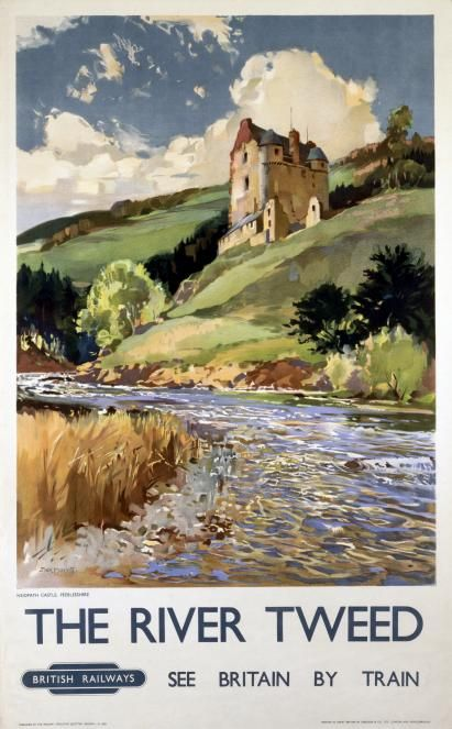 The River Tweed and Neidpath Castle, English Railway Travel Poster Print by British Railways/17