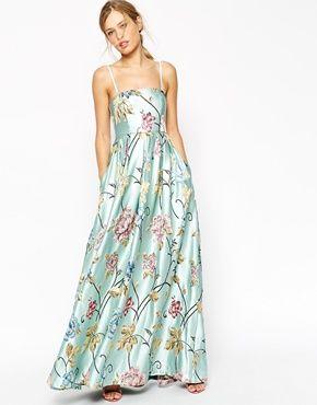 Enlarge ASOS SALON Premium Beautiful Floral Jacquard Bandeau Maxi Dress