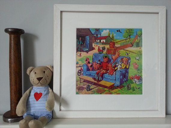 Vintage Nursery Print  Mounted and Finished by PunchJunk on Etsy, £19.95