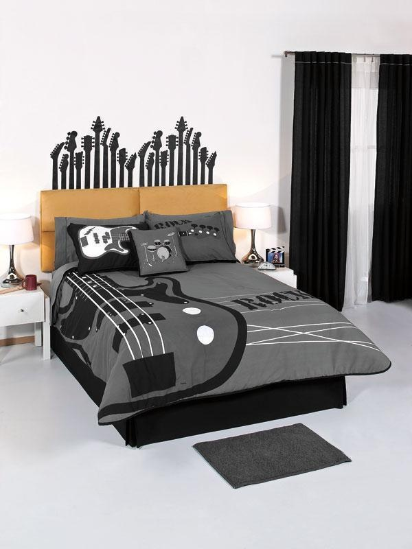 Details about brand new exquisite teen boys comforter bed for Guitar bedding for boys