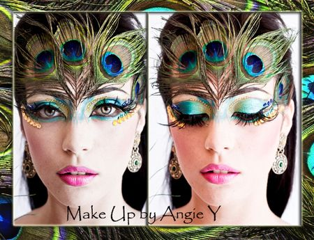 Peacock inspired fantasy make-up  accented with rhinestones and feathers.