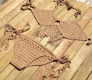 brown bikini set crochet bikini bottoms tie by senoAccessory by Senem An
