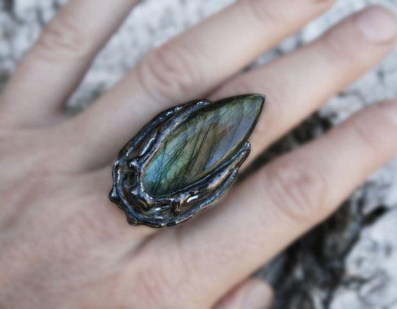 labradorite ring statement ring gemstone by Blacksmithworkshop, #labradoritering