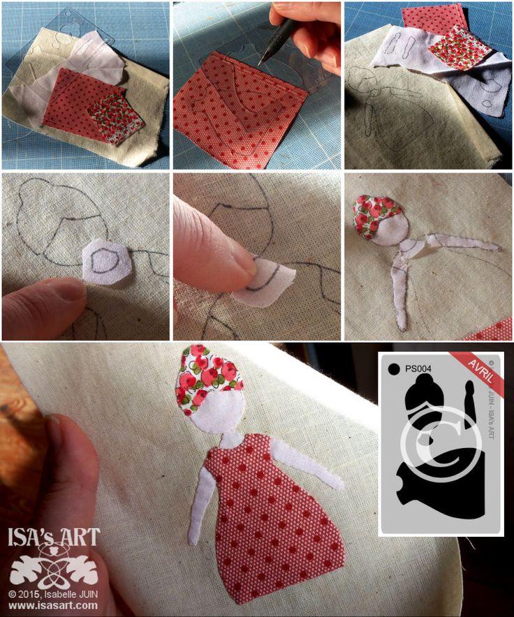 ISA'sART: PATCHWORK - Appliqué pochoir Petite doll (tuto astuces)