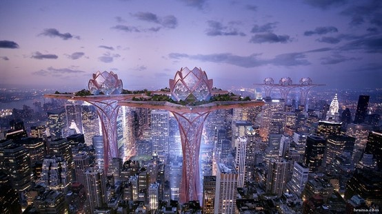 City in the Sky – concept for towering structures that resemble lotus flower provide garden oasis above the steets of New York City. Designed by Tsvetan Toshkov.