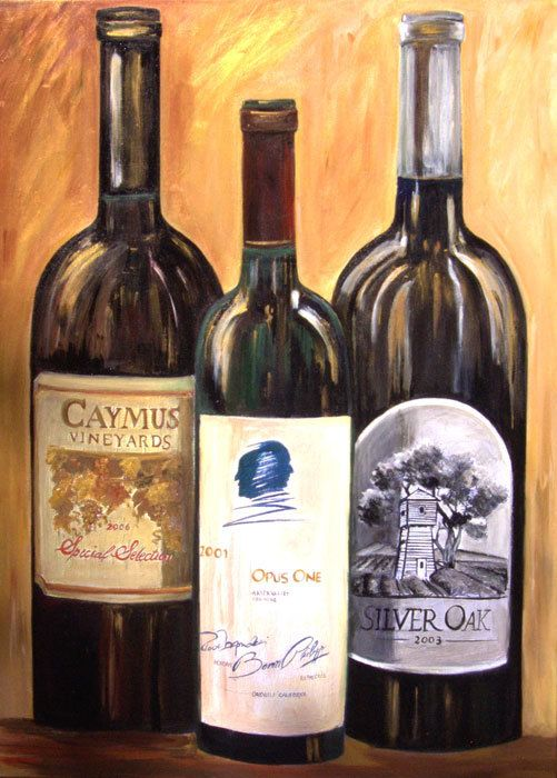 Wine wall art print on paper, wine art decor, wine bottle painting, Opus one, Caymus and Silver Oak famous Napa valley wine print on paper