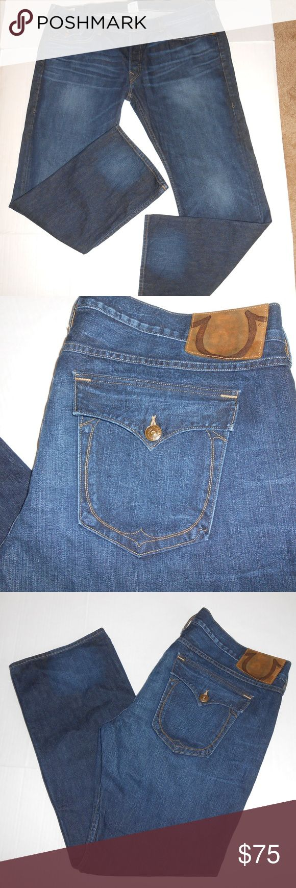 "True Religion ""Ricky""  Jeans sz 44x34 True Religion Ricky Boot Cut Jeans sz 44x34. These jeans are pre-owned and are in great condition. Real nice jeans. Such a great deal on these great jeans. Measurements Waist: 23.5"" across Inseam: 33.5"" True Religion Jeans Straight"