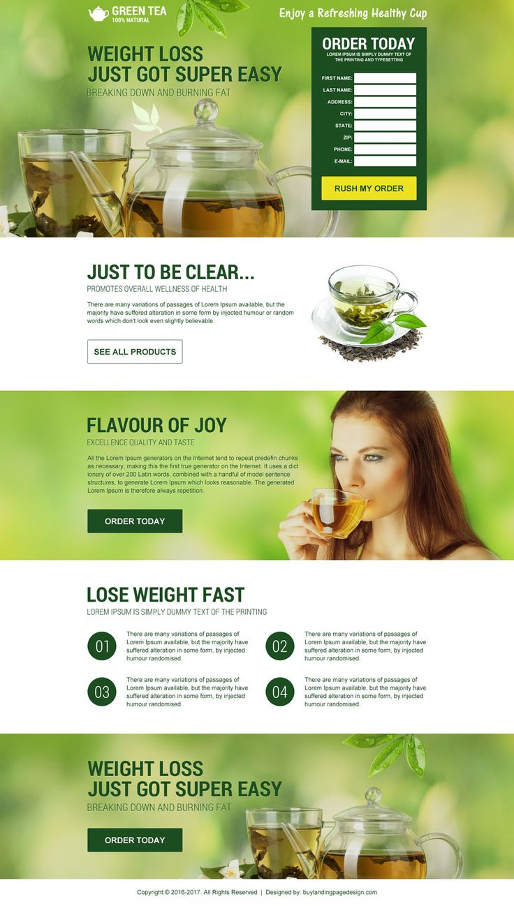 Green tea weight loss landing page design templates for sale | BuyLPDesign Blog