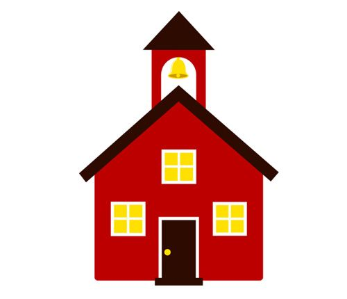 Red School House with Yellow Bell & Window free vector clipart