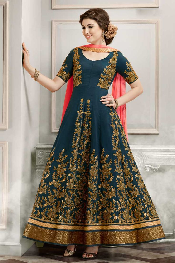 Blue Designer Eid Special Function Wear Anarkali Dress With Heavy Embroidary Work 1807