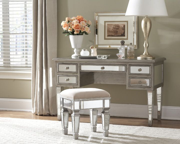 Garbo Mirrored Desk Vanity From Glamfurniture Com 1167 00 Mirrored Bedroom Furnituremirrored