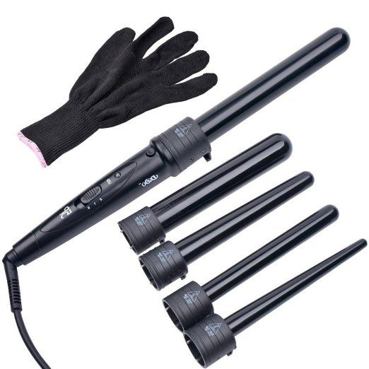 MQB 5-In-1 Hair Curler Ceramic Tourmaline Hair Curling Iron Wand Sizes 09-18 / 19 / 19-25 / 25 / 32 mm Ceramic Barrels + Heat Resistant Glove