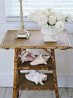 Coastal Living...<3 the rattan table with the shells