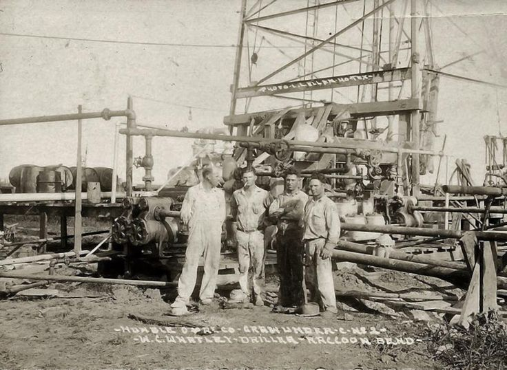 Texas reader Charles Wiggins was nice enough to forward this photo of his dad, Chester Wiggins, along with his Humble Oil drilling crew at Raccoon Bend (near Bellville) in 1930. Chester is on the far right.