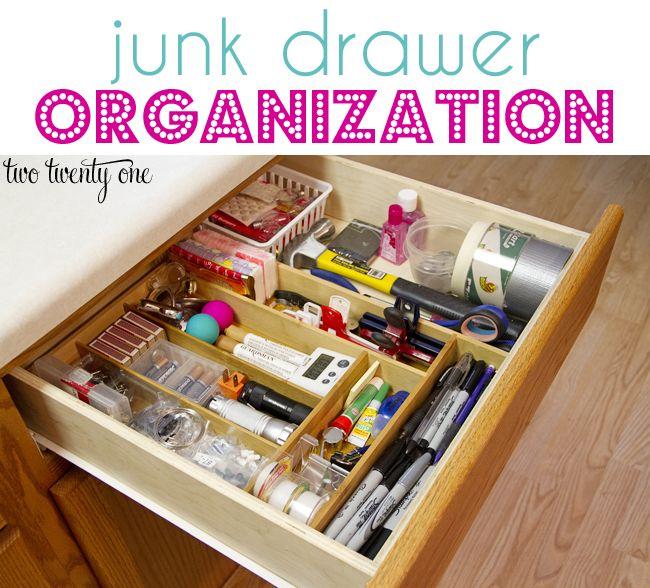 junk drawer organization using a  bamboo flatware organizer.